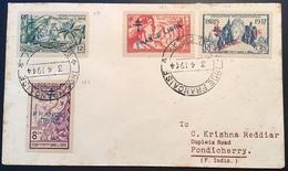 """Établissements Français Dans L' Inde 1942 """"FRANCE LIBRE""""  Lettre Pondichery (French India Cover Exposition Paris 1937 - India (1892-1954)"""