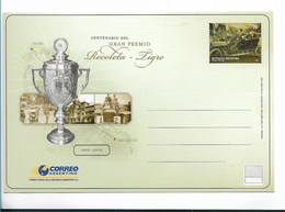 ARGENTINA 2006 POSTCARD CENTENARY OF RECOLETA - TIGRE PRIZE, OLD RACING CARS, CUP NEW UNUSED - Interi Postali