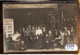 1307 FRD75 AK/PC CARTE PHOTO PARIS DEVANTURE DE CAFE A IDENTIFIER 1906 TTB - Cartoline