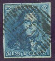N°2 - Epaulette 20 Centimes Bleue, TB Margée Et Obl. P.118 TIRLEMONT Centrale.  TB - 14225 - 1849 Schulterklappen