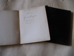 2 CAHIERS MANUSCRITS DE L'HISTORIEN ET MEDECIN PAUL DELAUNAY 1902-05 COURS GEOLOGIE STANISLAS MEUNIER + DESSINS - Autógrafos