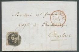 N°6 - Médaillon 10 Centimes Brun, TB Margé Obl.P.26 Sur Lettre De CHATELINEAU Le 2 Décembre 1852 Vers Charleroi.  Belle - 1851-1857 Medaillen (6/8)