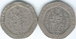 Gibraltar - Elizabeth II - 20 Pence - 1988 (KM16) & 1999 (KM777) - Lady Of Europa - Gibilterra