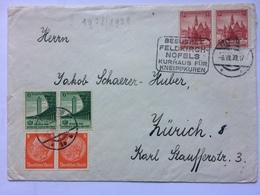 GERMANY 1939 Cover Feldkirch / Zurich Switzerland  `Besuchet Feldkirch Nofels Kurhaus Für Kneippkuren` / Censor Marks - Allemagne