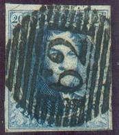 N°7 - Médaillon 20 Centime, TB Margé, Obl.P. 62 HUY Centrale Et Nette.  TB - 14233 - 1851-1857 Medaillen (6/8)