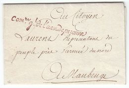 France An 2 / 1794 'Com.re Gl De L'arm. De Peronne' En Rouge Armée D L'Interieur Camp De Péronne Somme (s88) - Postmark Collection (Covers)
