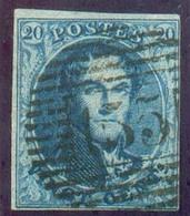 N°7 - Médaillon 20 Centime, TB Margé, Obl.P. 155 ANS Centrale Et Droite.  TB - 14234 - 1851-1857 Medaillen (6/8)