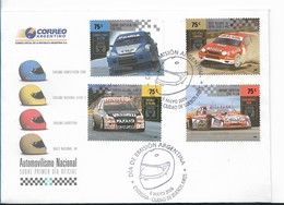 ARGENTINA 2006 NATIONAL MOTORING RACING CARS SPECIAL FDC SET OF 4 ON FDC VF! - FDC