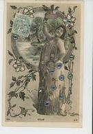 FEMMES - FRAU - LADY - ARTISTES - Jolie Carte Fantaisie Avec Paillettes Portrait Artiste CALVÉ - Femmes