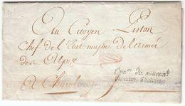 France An 3 / 1795 'Com.on Du Mouvem.t Des Arm De Terre' Paris Pour General Piston à Chambéry, Paraphe Franchise (s90) - Storia Postale