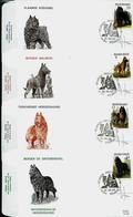 FDC Des N° 2213/16  Races Canines Belges   Obl. Veurne 24/05/1986 - 1985-.. Pájaros (Buzin)
