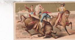 CHROMO  DOREE .PUBLICITE CHOCOLAT GUERIN - BOUTRON . COURSE DE TAUREAUX - Guerin Boutron