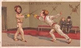 CHROMO  DOREE .PUBLICITE CHOCOLAT GUERIN - BOUTRON . A LA SALLE D ARMES - Guerin Boutron