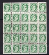 Canada 1954 Queen Elizabeth 2c Block Of 25 MNH - Unused Stamps