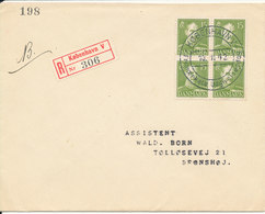 Denmark Registered FDC 10-11-1942 Chr.X 15 öre Green In Block Of 4 With Address - FDC