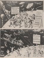 """2 CPA :""""FIN DU MONDE"""" AÉROPLANS À LOUER,ESSENCE 1 BIDON POUR LA LUNE,ÉCHELLE DE SAUVETAGE LUNE MAI 1910 - Autres"""