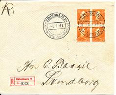 Denmark Registered FDC 5-1-1943 Chr.X 30 öre Orange In Block Of 4 With Address - FDC