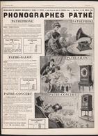 Pub Papier 1909  Ciné PATHE FRERES  Appareil Pathephones Disque Son Musique Phonographes - Advertising