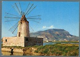 °°° Cartolina N.93 Trapani Mulino A Vento Con Monte Erice Nuova °°° - Trapani