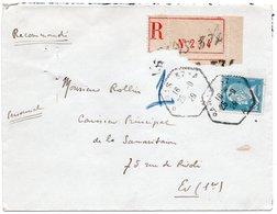 LSC 1929 - Recommandé Et Cachet Hexagonal PARIS 37 A Sur Timbre Pasteur YT 181 Seul Sur Lettre - Postmark Collection (Covers)