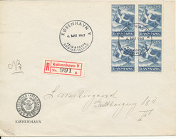 Denmark Registered FDC 4-5-1947 LIBERATION In Block Of 4 On 3 Covers With Address (the Flap On The Backside Of The Cover - FDC