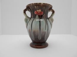 Ancien Vase Ceramique Bay Keramik Allemagne Environ 1950 Bleu Et Brun Hauteur 14 Cm - Ceramica & Terraglie