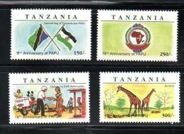 TANZANIA, 1998, PAPU, GIRAFFE,,4v   MNH** - Francobolli