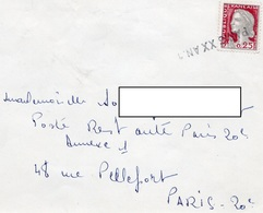 LSC 1964 - Olitération Linéaire PARIS XX AN.1 Et Au Dos Cachet Bien Frappé Et Bien Centré Sur Timbre Taxe YT 92 - Postmark Collection (Covers)