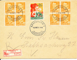 Denmark Registered FDC 18-11-1948 Frederik IX 30 öre Orange In Block Of 4 X 2 And A Christmas Seal 1948 - FDC