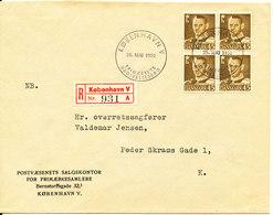 Denmark Registered FDC 25-5-1950 Frederik IX 45 öre Olive Brown In Block Of 4 - FDC