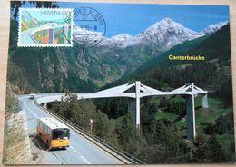 "Schweiz Suisse 1991: Zu 817 Mi 1453 Yv 1381 ""Ganterbrücke & Bus"" Mit O RIED B. BRIG 10.9.91 - Bus"