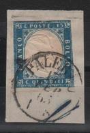 1863 Vittorio Emanuele II 15 C. US Su Frammento - Annullo Completo Palermo +++ - 1861-78 Vittorio Emanuele II