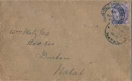 "1901 NATAL , SOBRE CIRCULADO A DURBAN , MAT. "" FIELD POST OFFICE - BRITISH ARMY S. AFRICA "" , CORREO DE CAMPAÑA - África Del Sur (...-1961)"