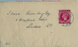 """1892 NATAL , FAJA POSTAL PARA PRENSA CIRCULADA A LONDRES , MAT. """" G.P.O. / NATAL """" - África Del Sur (...-1961)"""