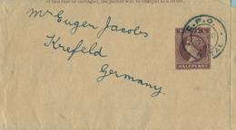"""1896 NATAL , FAJA POSTAL PARA PRENSA CIRCULADA A KREFELD , MAT. """" G.P.O. / NATAL """" - África Del Sur (...-1961)"""
