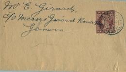 "1895 NATAL , FAJA POSTAL PARA PRENSA CIRCULADA A GINEBRA , MAT. "" G.P.O. / NATAL "" - África Del Sur (...-1961)"