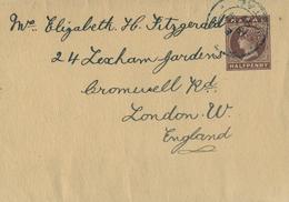 """1897 NATAL , FAJA POSTAL PARA PRENSA CIRCULADA A LONDRES , MAT. """" G.P.O. / NATAL """" - África Del Sur (...-1961)"""