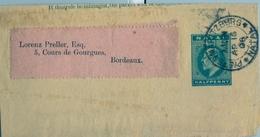 1908 NATAL , ENVUELTA DE FAJA POSTAL PARA PRENSA CIRCULADA, PIETERMARITZBURG - BORDEAUX - África Del Sur (...-1961)
