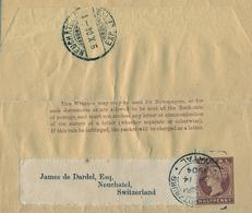 1904 NATAL ,  FAJA POSTAL PARA PRENSA CIRCULADA, PIETERMARITZBURG - NEUCHATEL , LLEGADA - África Del Sur (...-1961)