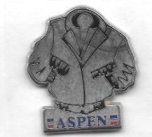 Superbe  Pin' S  Argenté  Vêtement, Blouson  ASPEN  Verso  BOUSSEMART - Badges