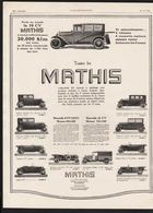 Pub Papier  1930 Automobile MATHIS Automobiles Voiture Camionette Torpedo Spider STRASBOURG Levallois Perret - Advertising