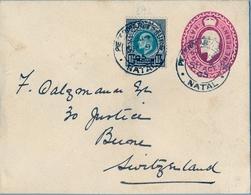 1905 NATAL ,  SOBRE ENTERO POSTAL CIRCULADO , PIETERMARITZBURG - BERNA , FRANQUEO COMPLEMENTARIO , LLEGADA - África Del Sur (...-1961)