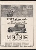 Pub Papier  1925 Automobile MATHIS Automobiles Voiture Exploit  STRASBOURG Levallois Perret - Advertising