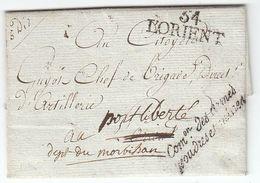 France An 3 / 1794 'Com.on Des Armes Poudres Et Mines' '54 LORIENT' To Port Liberté Nom Rev. De Port Louis (s94) - Sellos De La Armada (antes De 1900)