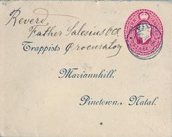 """1903 NATAL ,  SOBRE ENTERO POSTAL CIRCULADO , DURBAN - PINETOWN , """" P.O.A. / 51 """" , TRÁNSITO Y LLEGADA - África Del Sur (...-1961)"""