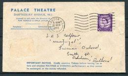 1960 GB London Palace Theatre / Godfrey Davis Ltd Car Hire Advertising Cover - 1952-.... (Elizabeth II)