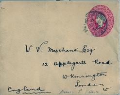 1902 NATAL ,  SOBRE ENTERO POSTAL CIRCULADO , PIETERMARITZBURG - LONDRES - África Del Sur (...-1961)