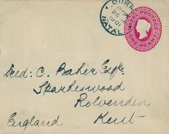 1901 NATAL ,  SOBRE ENTERO POSTAL CIRCULADO , DURBAN - ROLVENDEN - África Del Sur (...-1961)