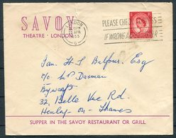 1955 GB London Savoy Theatre / Savoy Restaurant Advertising Cover - 1952-.... (Elizabeth II)