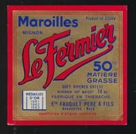 Etiquette Fromage  Maroilles Mignon Le Fermier 50%mg Ets Fauquet Père Et Fils Avenelles Nord Or 1961 1962 1963 - Fromage